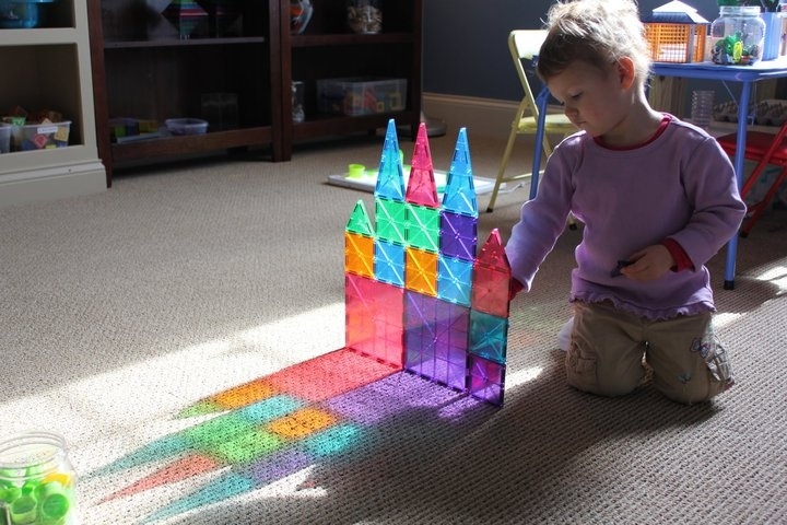Magna-tiles. We played with them in a friend's house, so awesome. Look what happens with the light!