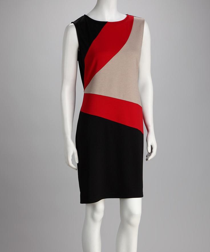 Voir Voir Black & Red Color Block Dress