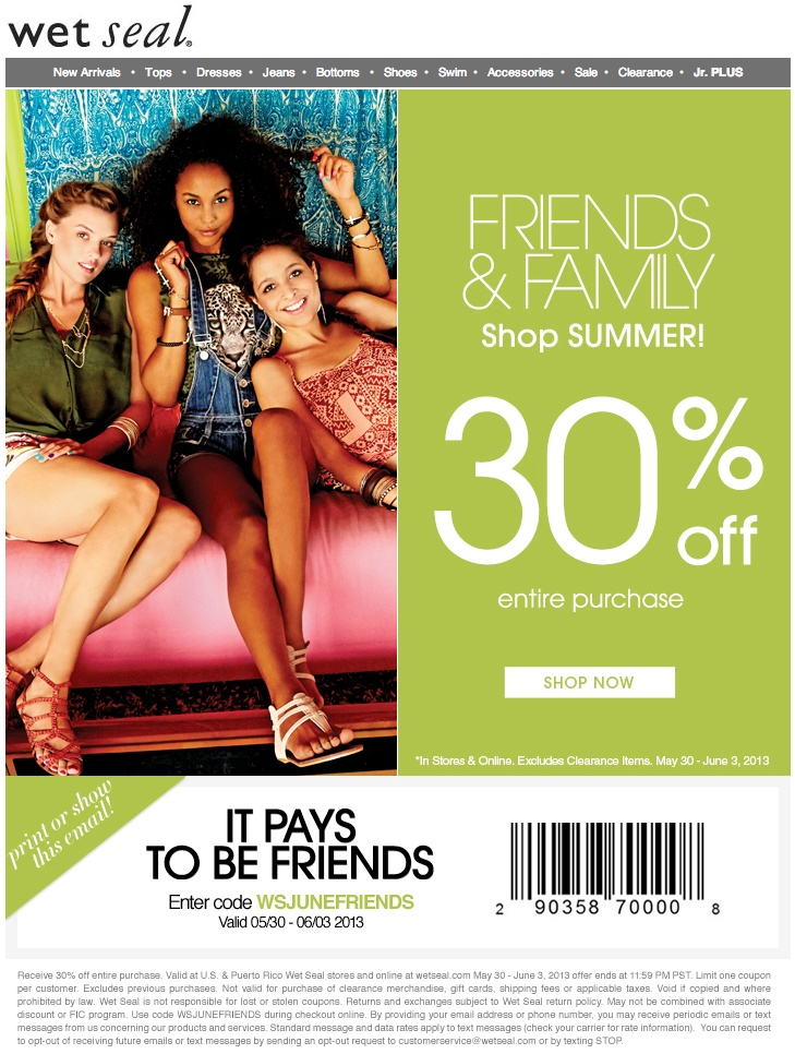 Coupons for wet seal 2018