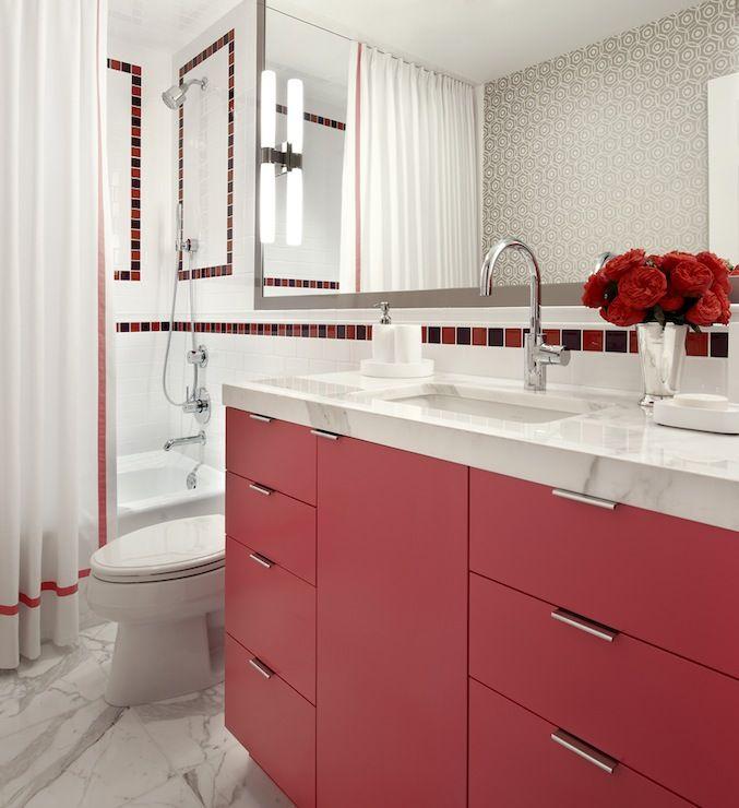 Curtains Ideas snoopy shower curtain : Snoopy bathroom. Red vanity. | Bathroom | Pinterest