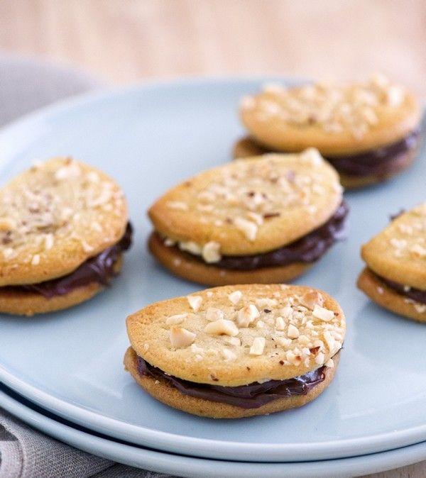 Hazelnut fancies sandwich cookies with chocolate-hazelnut filling