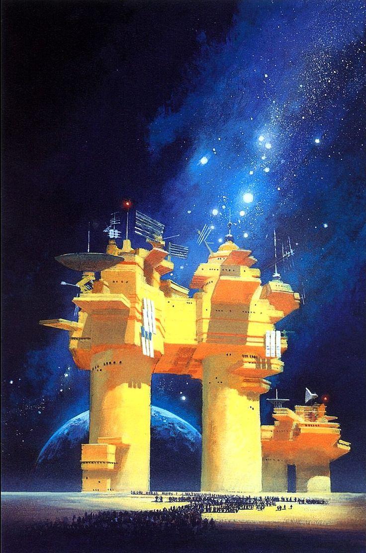 "John Harris  (b.1948) —  Cover  for ""A Million Open Doors"" by John Barnes (794x1200)"