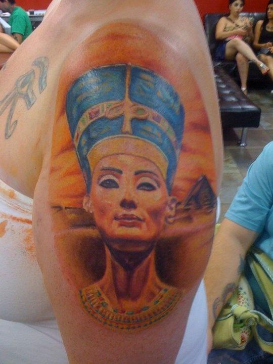 Nefertiti by derynne the anarchy ink tattoo crew for Black african queen tattoos