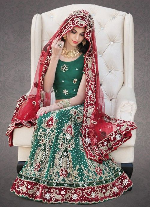 Sea Green Lehenga Choli With Maroon Dupatta