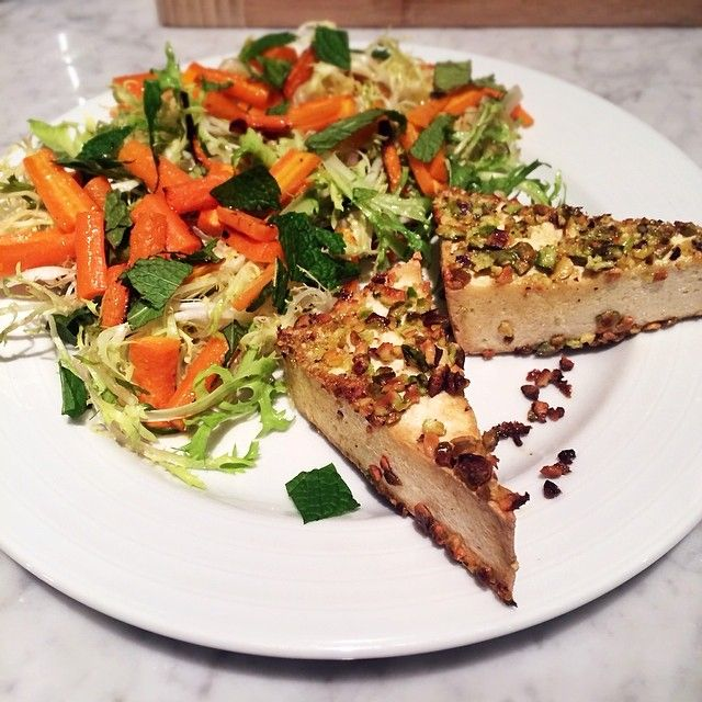 Pistachio-Crusted Tofu with Roasted Carrot Frisee Salad