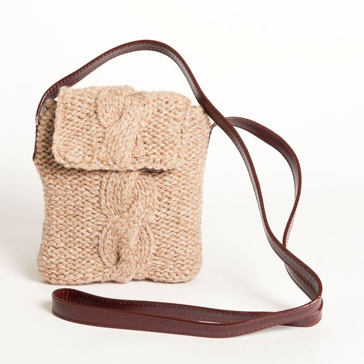 Knitted Sling Bag : Brown wool sling bags Knit - bags, containers, decor Pinterest