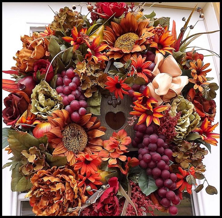 Beautiful autumn door wreath fall into fall decor Fall autumn door wreaths