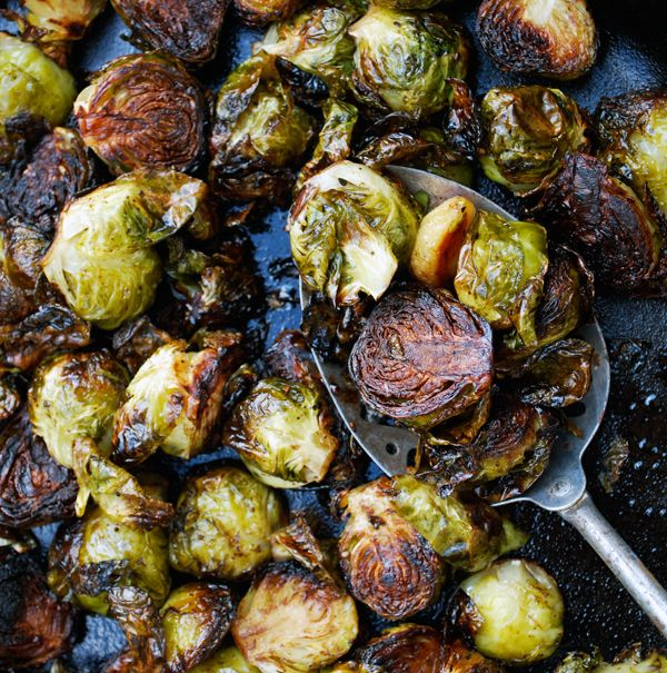 ... some sort of brussels with balsamic garlic maybe shallots and bacon