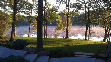 Saugatuck douglas house rental morning view of the lake
