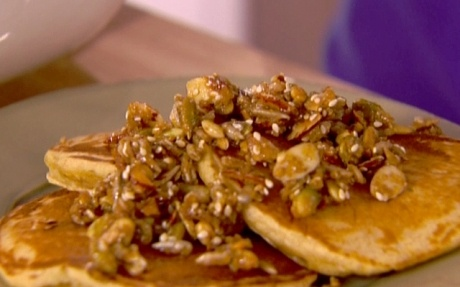 Whole-Wheat Pancakes with Nutty Topping | Bake & Cook | Pinterest