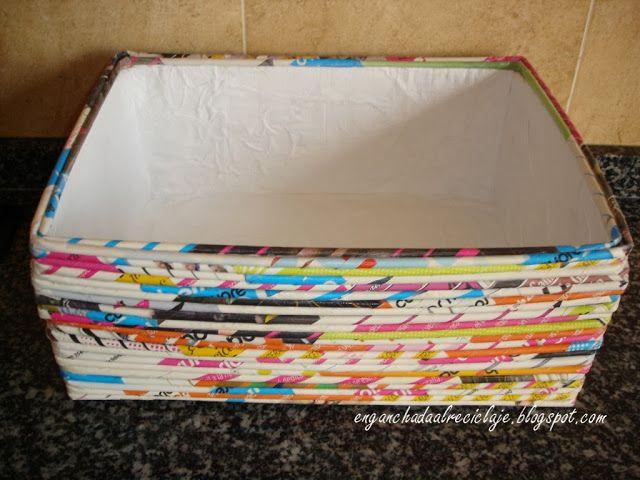Vamos a reciclar! | Cestos papel periodico | Pinterest