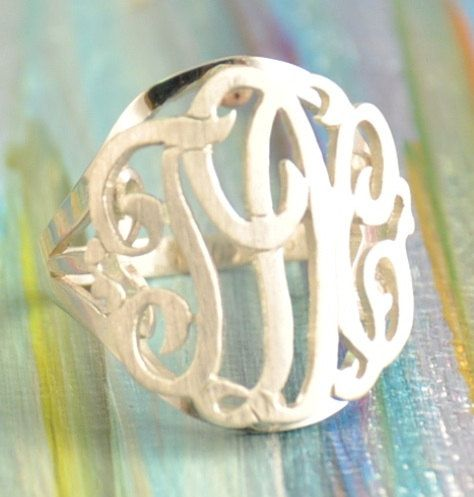 monogram ring , sterling silver.