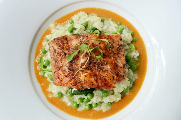 ... pea risotto, charred spinach and lobster bisque. Photo: Allison Woo
