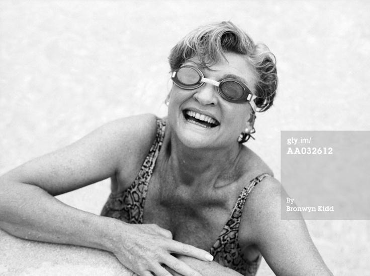 Swimming Pool Women senior | Elderly Woman In A Swimming Pool Royalty ...