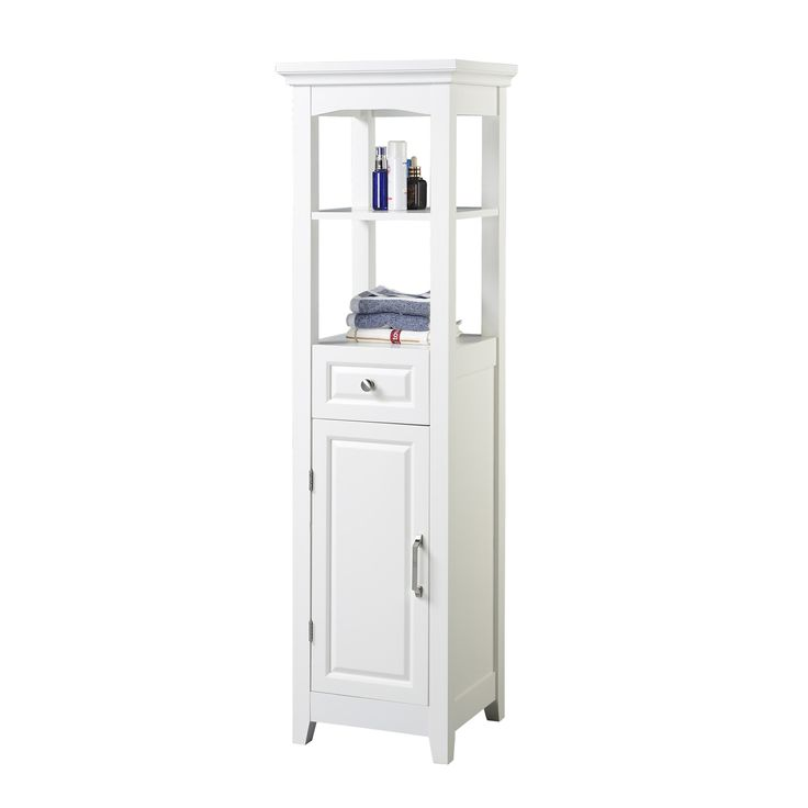 Chamber Collection White 4 Shelf Bathroom Linen Tower