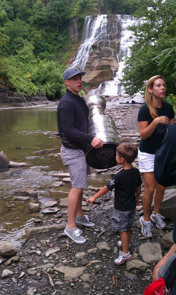 It's just Dustin Brown, the Stanley Cup and a waterfall. No big deal.