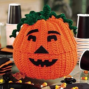 Crochet Jack-O'-Lantern Treat Jar Pattern