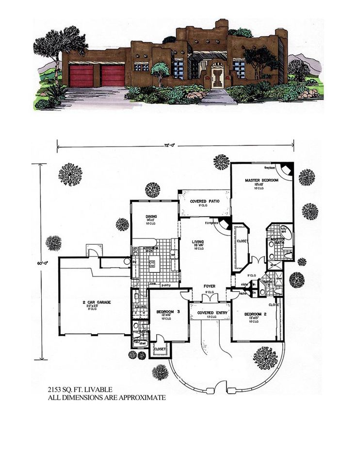 Santa fe southwest house plan 54614 for Santa fe floor plans