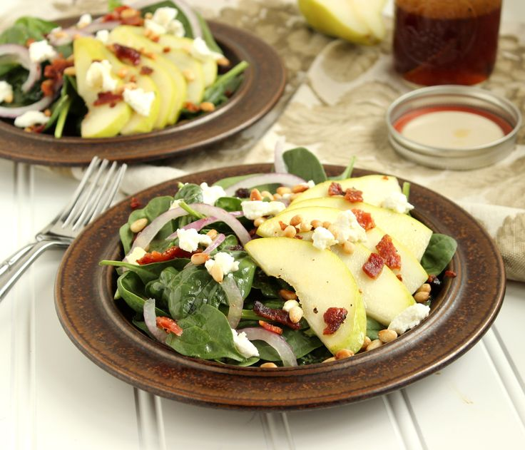Pear, Goat Cheese and Spinach Salad with Warm Bacon Maple Dressing