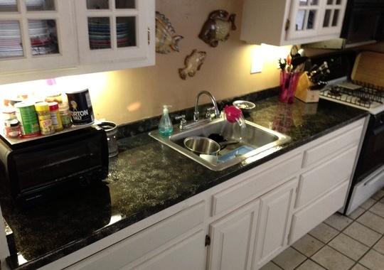 Easy cheap faux granite countertop kitchen makeover pinterest