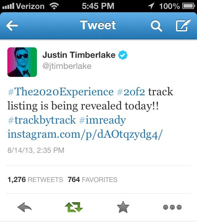 the track list to his upcoming album The 20/20 Experience 2 of 2