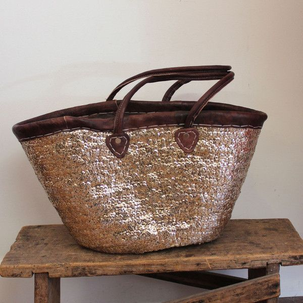 Moroccon Sequin Market Basket - Gold