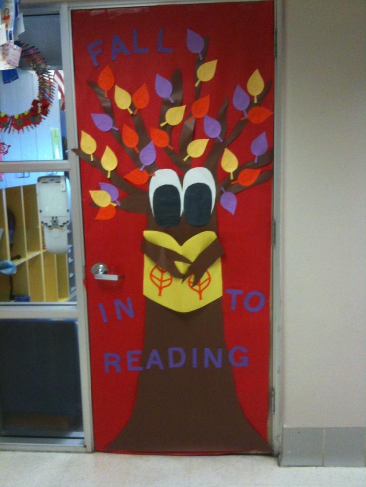 Classroom Door Decoration Ideas Reading : Fall into reading door decoration teaching ideas