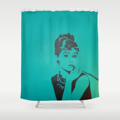 Breakfast at tiffanys shower curtain audrey shower curtain by kristyn