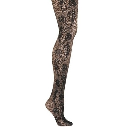 Fishnet Tights with Floral Side Seam Detail - StyleSays