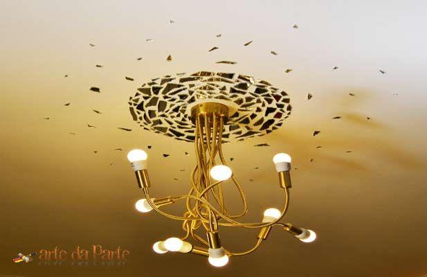 rosone lampadario : Rosone per lampadario con pezzi di vetro Fai da te Pinterest