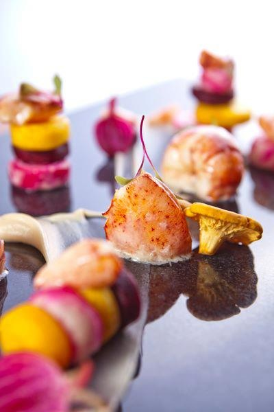 ... : Butter Poached Lobster, Beets, Chanterelles & Parsnip by Chef Noam