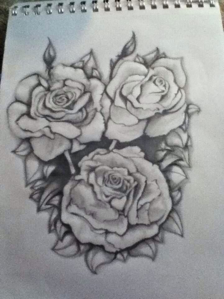 Beautiful rose drawing tattoo ideas pinterest for Pretty rose drawings