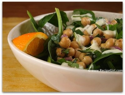 Chickpea & Spinach Salad with Cumin Dressing