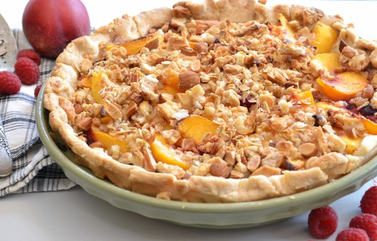 Peach Raspberry Crumble Pie | This Country Girl Cooks | Pinterest