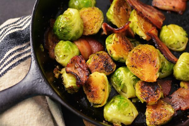 Pan Roasted Brussel Sprouts with Bacon. | food | Pinterest