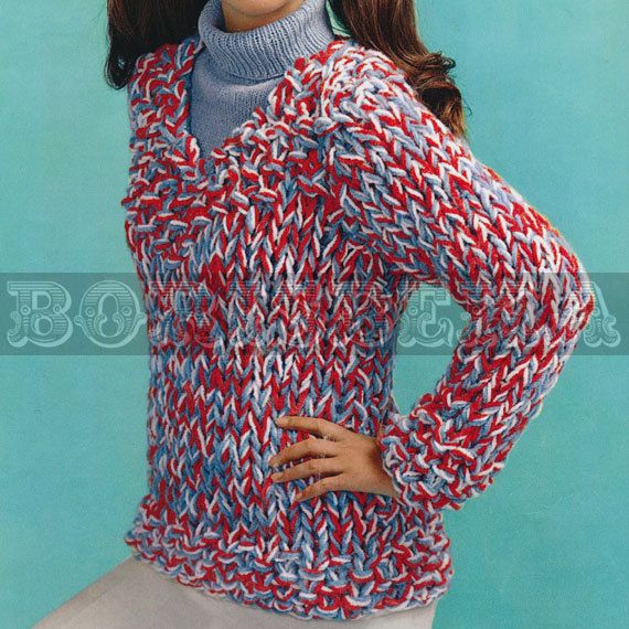 Knitting Patterns Bulky Yarn Sweater : vintage SWEATER knitting/crochet pattern (60s) (PDF)