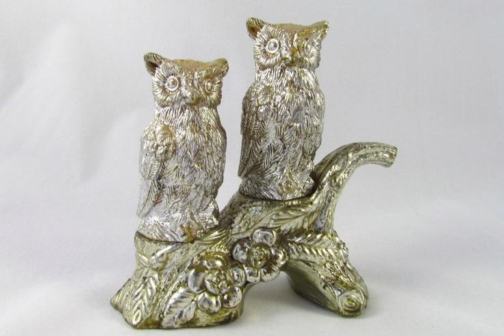 Vintage owl salt and pepper shakers on tree 17 99 via etsy