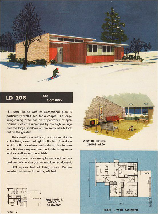 Mid century house plan atomic ranch pinterest for Atomic ranch floor plans