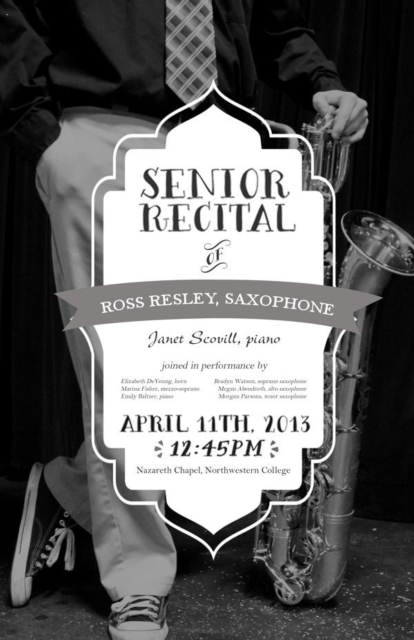 Senior recital poster templates