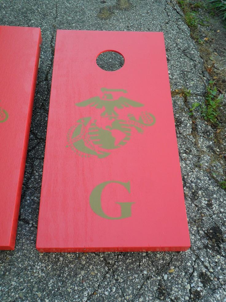 marine corp design cornhole corn hole baggo board game set army