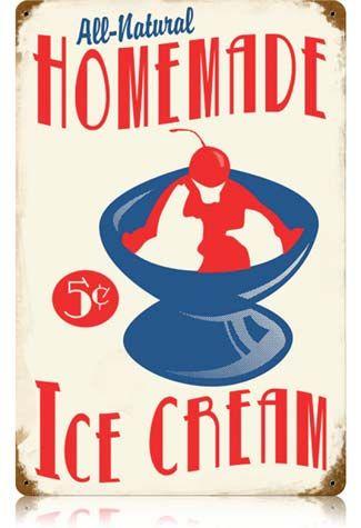 Vintage ice cream sign with cherry