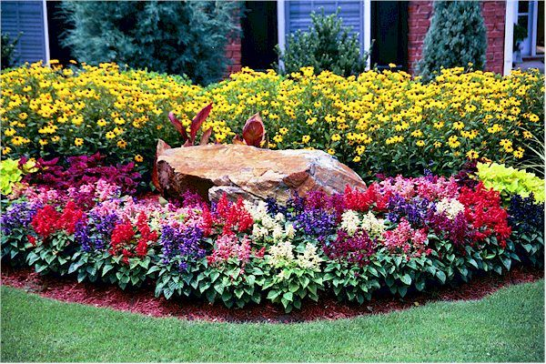 Flower bed for front yard for the home pinterest for Front yard flower bed designs