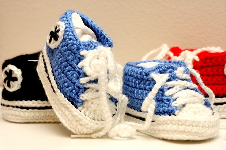 Crochet Baby Booties High Top Converse Style Pattern : Crochet Converse baby booties crochet Pinterest