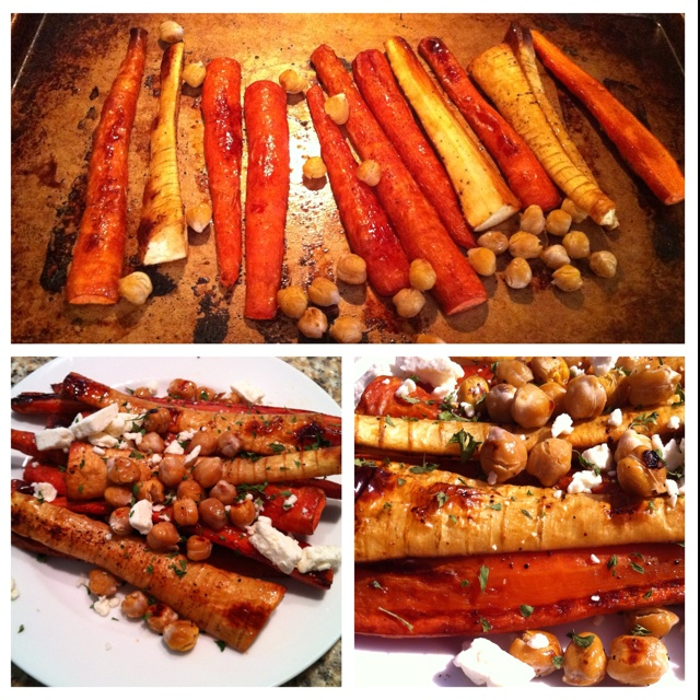 Sweet & Spicy Carrots, Parsnips, Chickpeas & Feta: Slice your carrots...