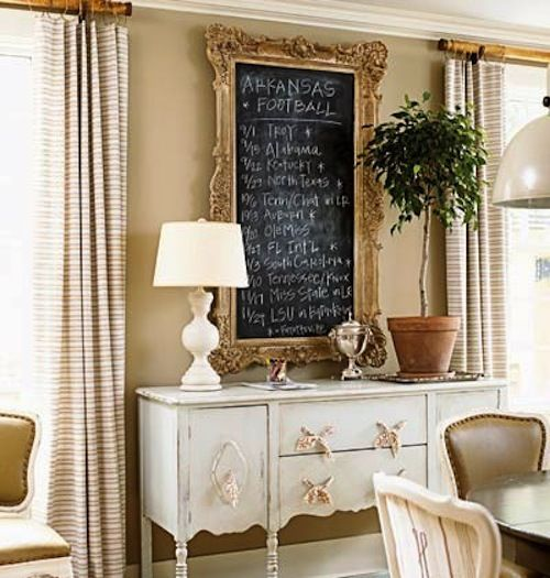 Chalkboard in the dining room...and fabric tie drawer pulls.