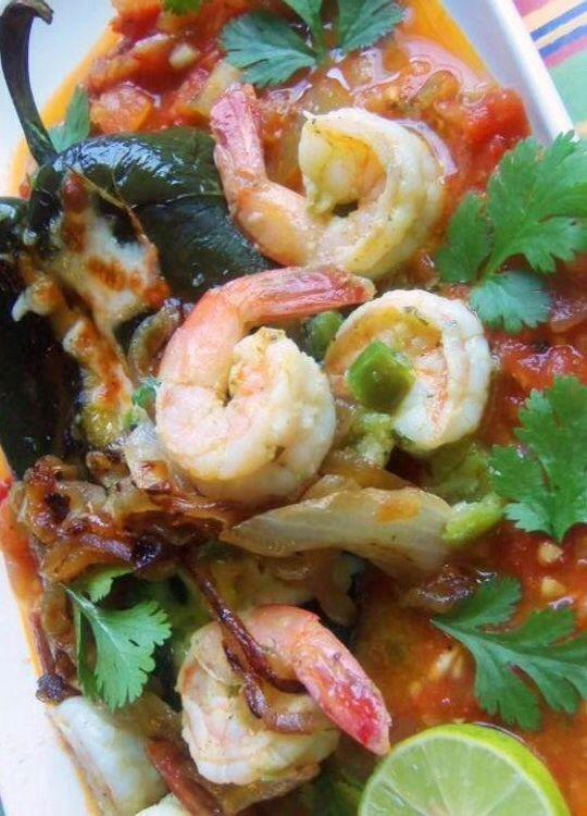 Chile Relleno With Serrano Shrimp - - Smoky, roasted chile poblano ...