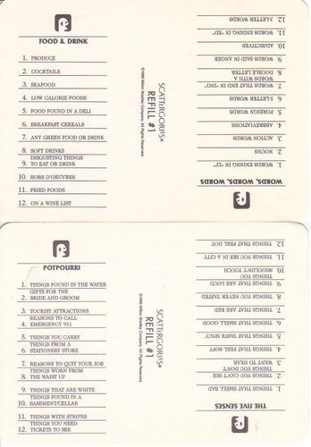 Old Fashioned image in scattergories lists printable