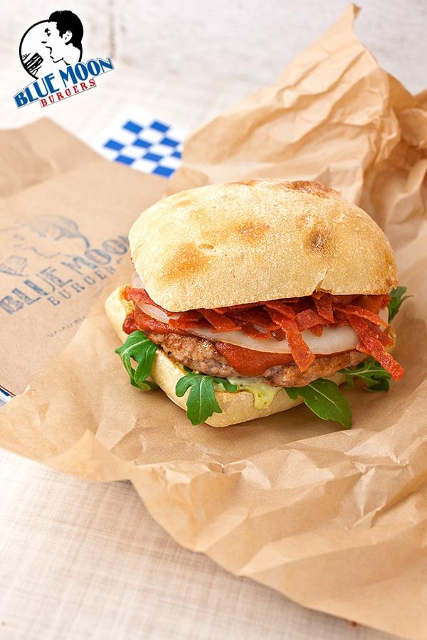 """Blue Moon Burgers! They call this """"The Italian Job"""" Ciabatta, Pesto..."""