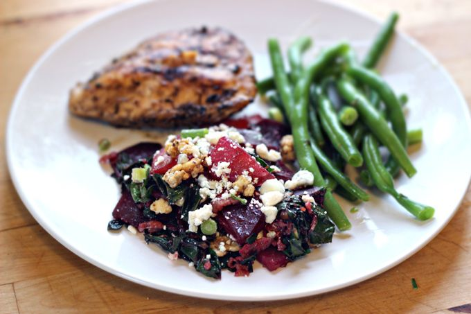 Roasted Beet Salad with Bacon, Swiss Chard, and Blue Cheese