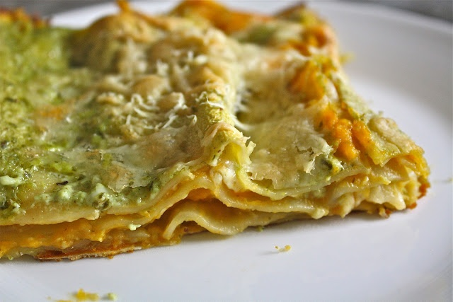 butternus squash lasagna w/ basil bechamel... perhaps too rich, but ...
